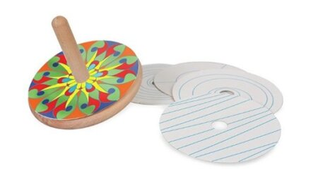 wooden colour spinning top