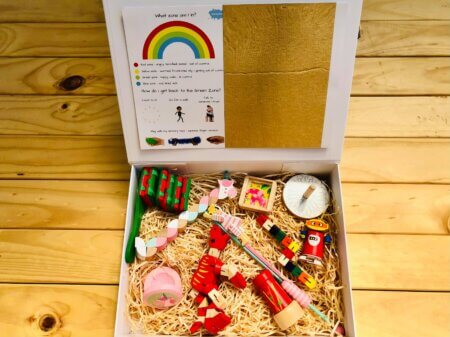 worbles wooden unicorn gift box red