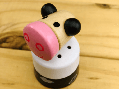 wooden push down animal sound toy cow