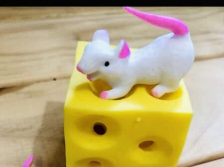 mouse and cheese stretchy toy
