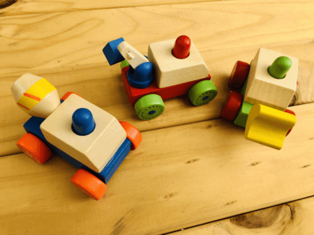 wooden squeaky construction truck toys
