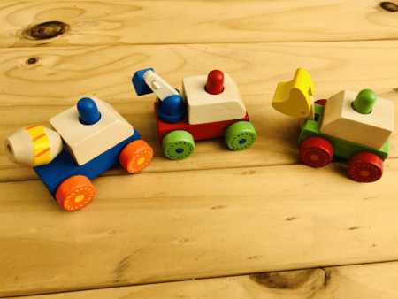 wooden squeaky construction truck toy