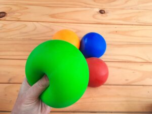 Large mouldable clay stress ball green