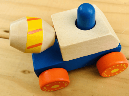 wooden squeaky construction truck toy blue