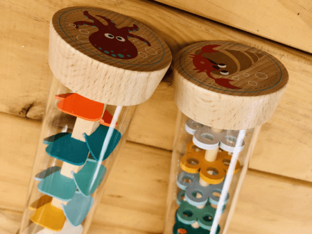 wooden rainmaker rattle toddler toy