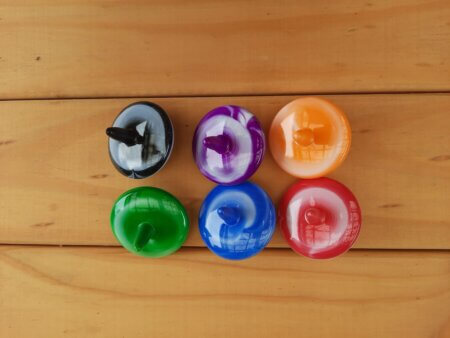 tie dyed spinning tops