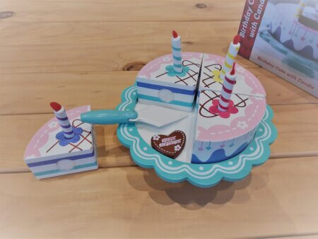 Wooden birthday cake on stand2