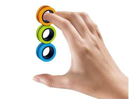 Magnetic stress relief ring on fingers