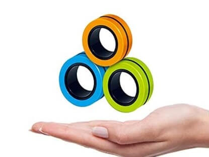 Magnetic stress relief rings hand