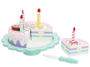 Wooden Birthday Cake on Stand